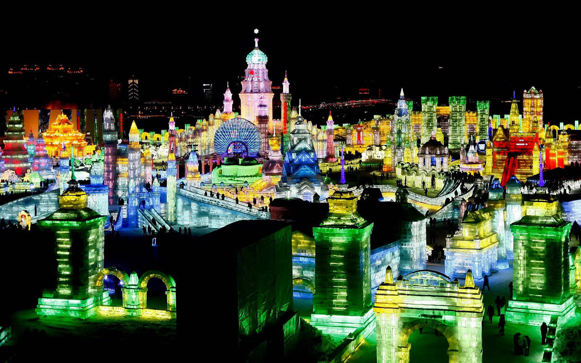 Visitors view ice sculptures at the 29th Harbin International Ice and Snow Festival on January 5, 2013. (Associated Press)